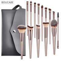 4-14 conjunto de pincéis de maquiagem dos pces para o pó da fundação blush ocultador da sombra do bordo olho compõem a escova com saco cosméticos ferramentas da beleza