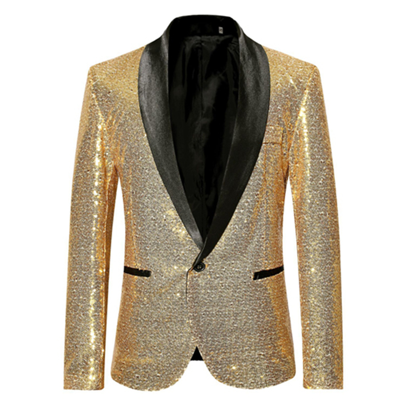 PYJTRL Shiny Gold Sequin Bling Glitter Suits Jacket Blazer Men Shawl Collar Club DJ Mens Blazer Jacket Stage Clothers