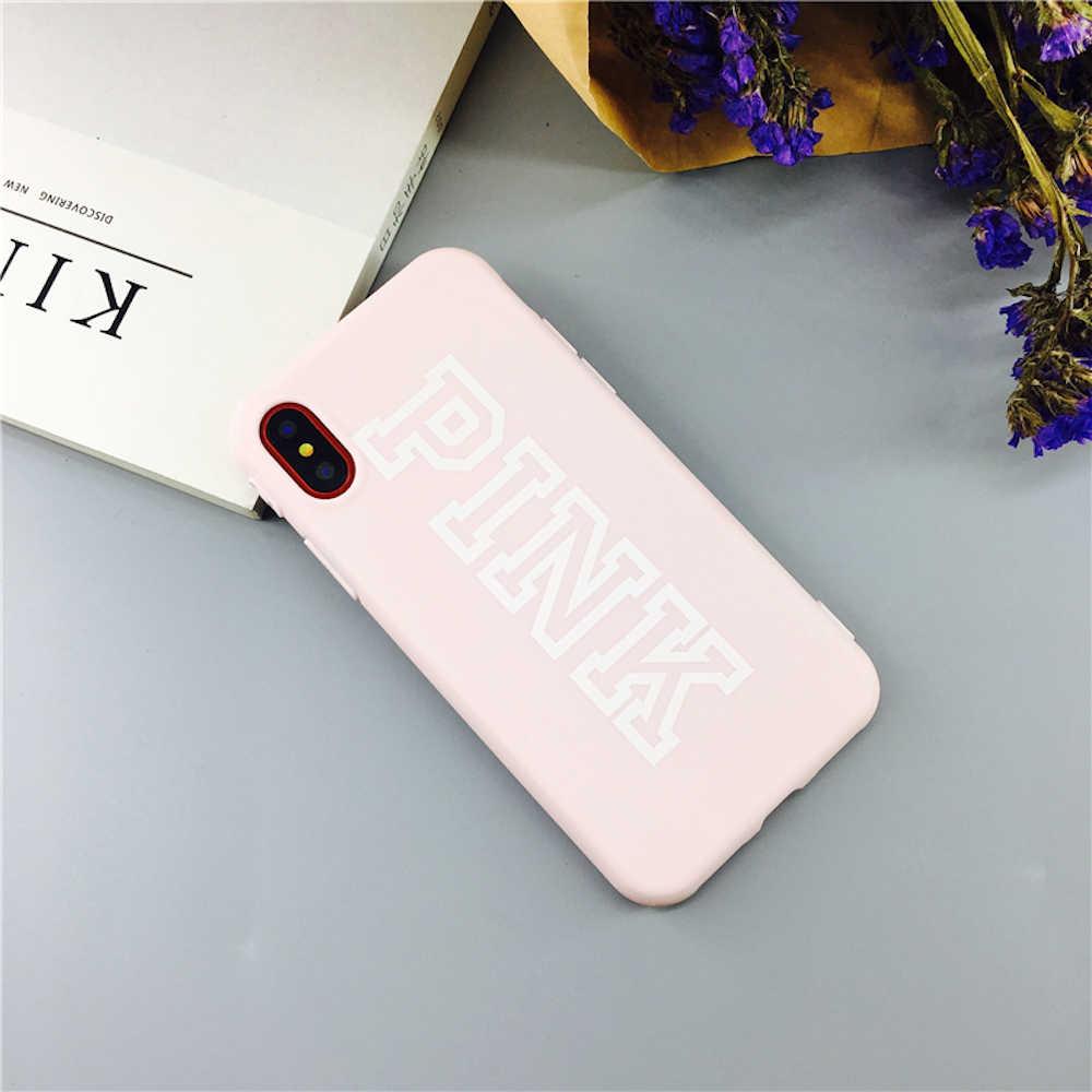 ブランド新ロゴピンクファッションソフトケース iPhone 11 11Pro 11 プロマックス X Xs XR XsMax 8 プラス 8 7 プラス 7 6 6 S プラス電話カバー Fundas