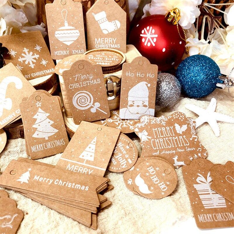 50 шт. рождественские ярлыки из крафт-бумаги, карточки с веревкой, рождественские украшения, Подарочная коробка, ярлыки, ярлыки, товары вечер...