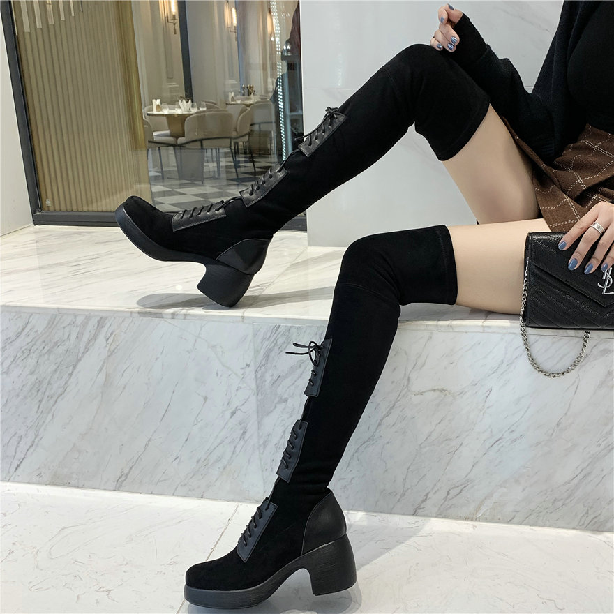 Women Black Cow Leather Stretchy Over The Knee High Military Boots Female Lace Up Elastic Velvet Round Toe Platform Pumps Shoes