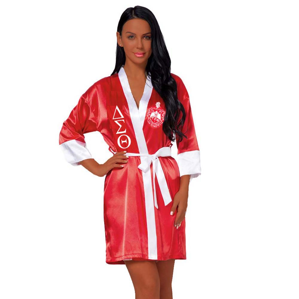 Loose Silk Bathrobe Lace Satin Delta Sigma Theta Clothes DST Sorority Fraternity Robe Dressing Sister 3.0 1 Review9 Orders