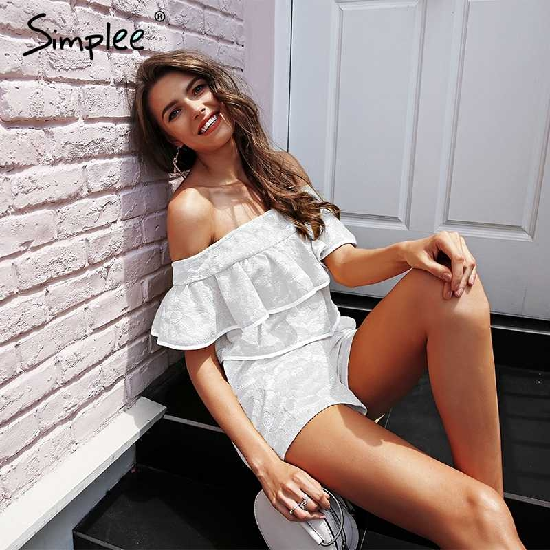 Simplee Ruffled off shoulder sexy women playsuit Solid white party club jumpsuit romper Casual ladies streetwear short jumpsuit