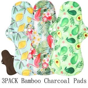 3pcs Extra Large Reusable Bamboo Charcoal Menstrual Pads Heavy Flow Sanitary Pads Washable Mama Sanitary Towel Pad Night Using