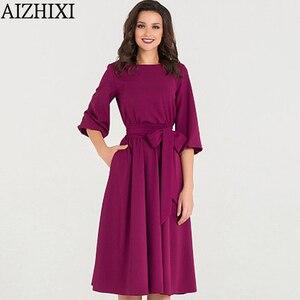 Image 5 - AIZHIXI vintage soild bolso faixas a linha vestido primavera verão feminino casual o pescoço lanterna manga vestido elegante vestidos de festa