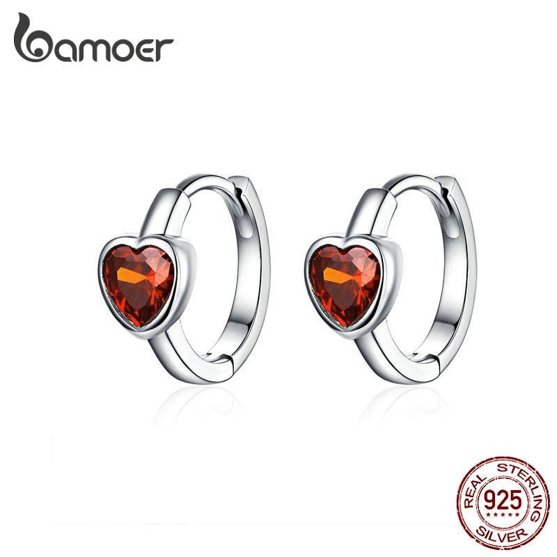 BAMOER Authentic 925 Sterling Silver Heart Cubic Zircon Hoop Earrings For Women Mini Ear Hoops Anti-allergy Girl Gits BSE084