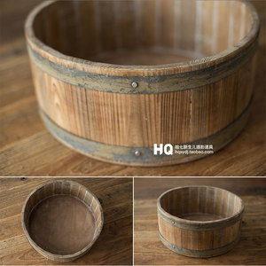 2020 Vintage Newborn Photography Wooden Basket Baby Photoshooting Props Classic Infant Photo Studio Wood Crib Basket Accessories