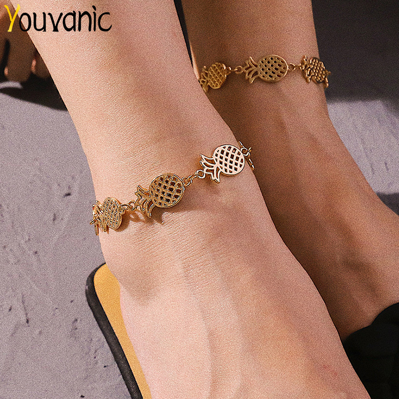 Youvanic Bohemia Gold Pineapple Ankle Chain Summer Beach Barefoot Anklet For Women Charms Leg Bracelet Fashion Foot Jewelry <font><b>0562</b></font> image