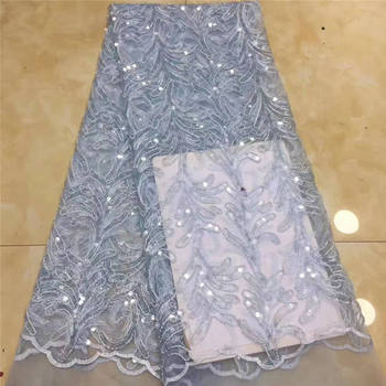 Sequin Fabric Nigeria Lace, Sky Blue Lace Embroidery Fabric, Sequin Lace For Wedding Party Mr2707b