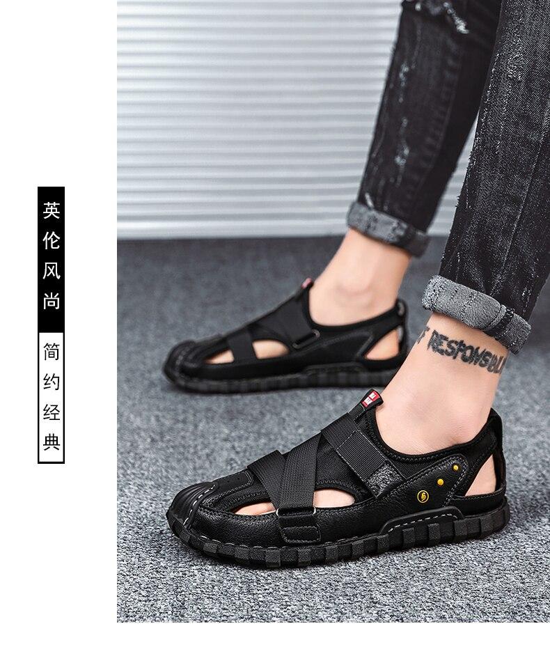 Sandalet erkek sandálias de couro dos homens