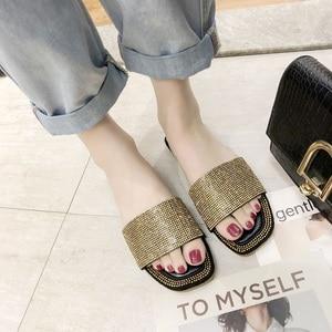 Image 3 - SHOFORT Frauen Schuhe Mode Kühlen Hausschuhe Sommer Outdoor Schuhe Casual Hausschuhe Nicht slip Boden Hausschuhe Strass Bling
