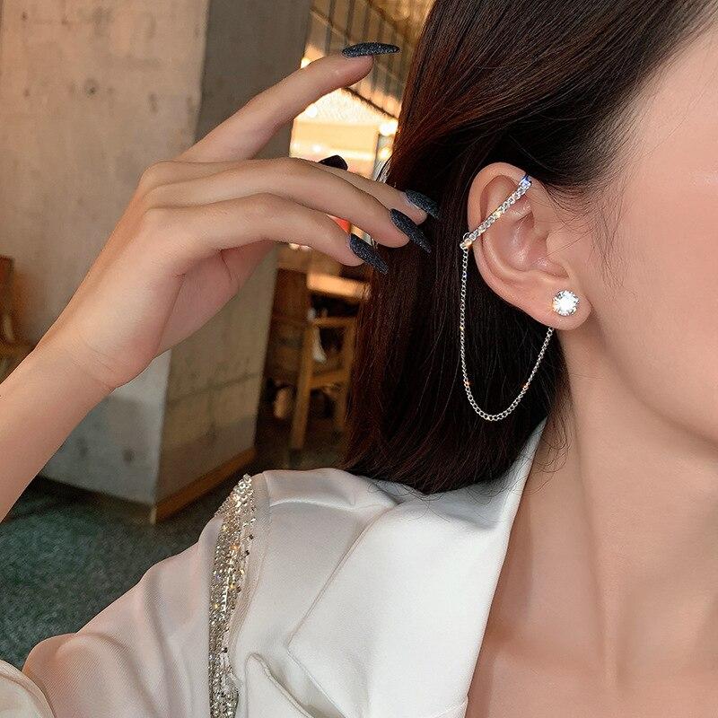 1pcs Asymmetric Chain Earrings Fashion Personality Metal Ear Clip Zircon Long Tassel Earrings for Women Ear Cuff Caught In Cuffs