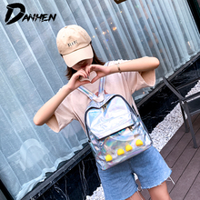2019 Fashion Backpack Women Holographic Travel Bags Colorful Laser Girls School Bag PU Leather