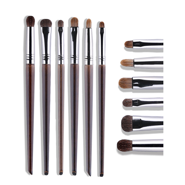 OVW Cosmetic 6 pcs Ultra Soft 100% Goat Hair Makeup Eye Shadow Brush Set Tools Tapered Blending Diffuse Kit Shader Cut Crease 3