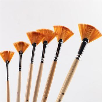 1 zestaw 6 sztuk pędzle malarskie drewniany uchwyt wielofunkcyjny w kształcie wachlarza pędzle malarskie akrylowe pędzle malarskie tanie i dobre opinie NYLON Drewna