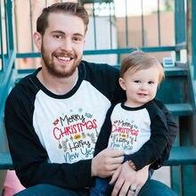 Одинаковая одежда для папы и сына Рождественская футболка с
