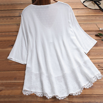 Embroidery Women's White Blouse Casual Plus Size Tops Elegant V-Neck Long Sleeve Tunic Summer Autumn Floral Print Women's Shirt 4