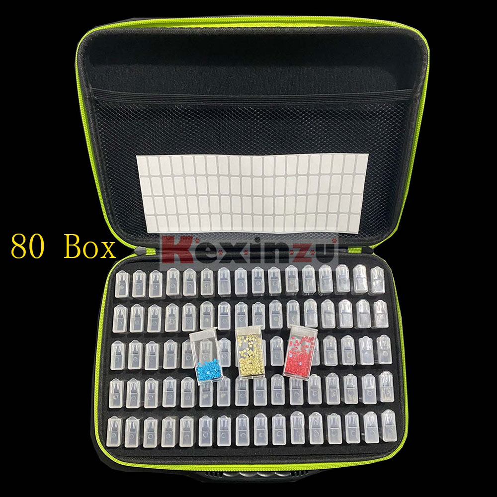 7 Colors 20/40/<font><b>80</b></font> <font><b>Box</b></font> Diamond Painting Cross Stitch Accessories Tool <font><b>Box</b></font> Container Diamond Storage Bag Case Embroidery Mosaic image