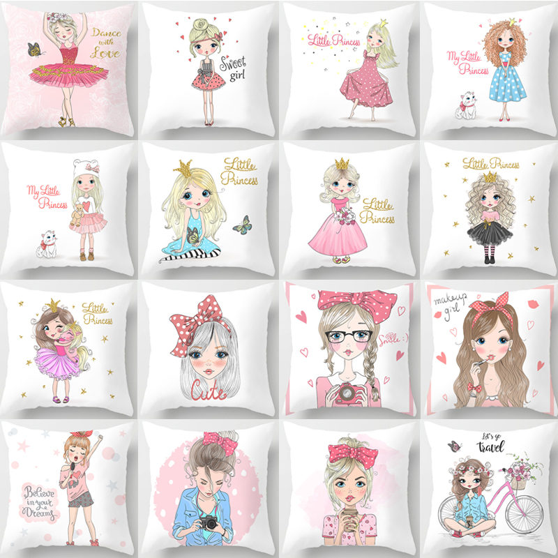 1Pcs Girl Little Princess Polyester Cushion Cover 45*45cm Decorative Pillows Home Sofa Bed Decoration Pillowcover 40851