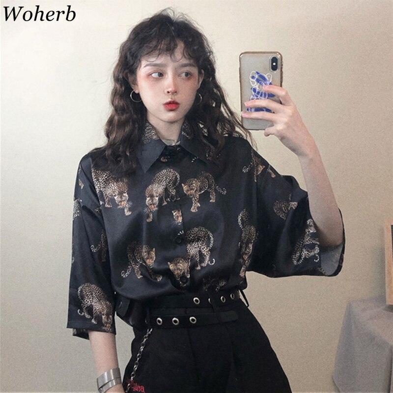 Woherb Vintage léopard Blouse femmes Harajuku Animal imprimé chemise 2019 été dames lâche Blusa Streetwear Camisas Mujer 21976