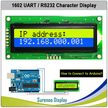 CMOS UART RS232 Serial 1602 162 16*2 Character LCD Module Display Screen LCM for Arduino, Support Keyboard Blue Yellow Green