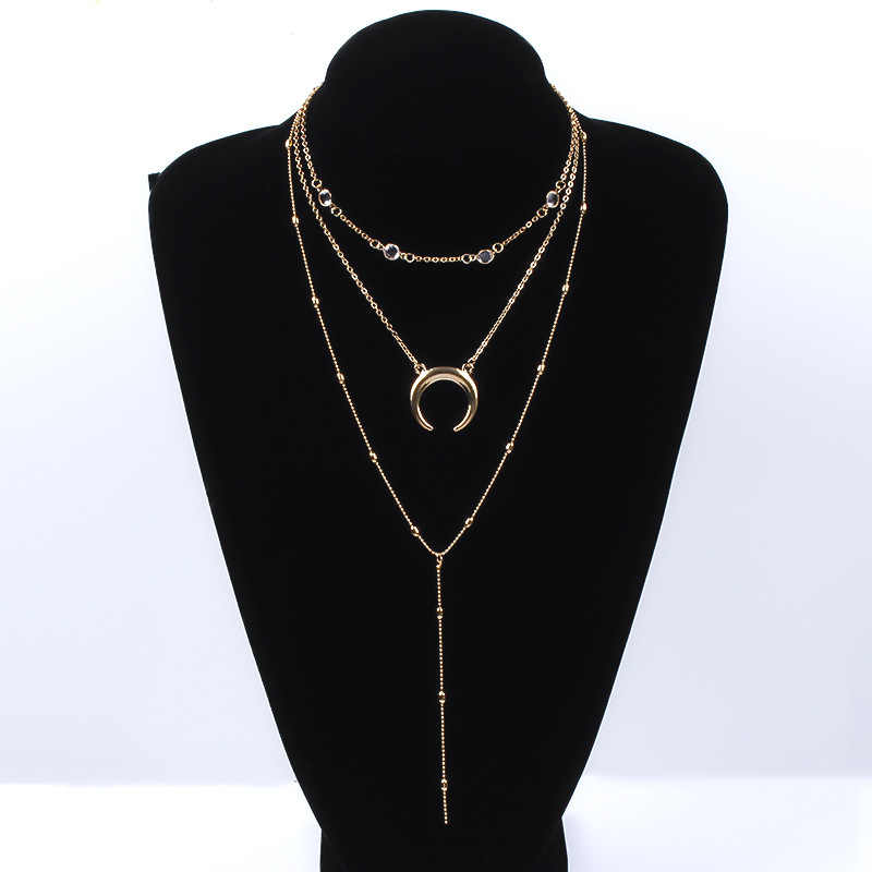 Bohemian Crystal Tassel Long Chain Choker Necklace Women Gold Silver Exquisite Moon Pendant Multi-layer Necklace Jewelry