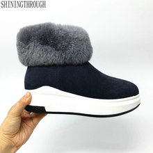 Snow-Boots Platform Winter Warm Genuine-Leather Shoes Black Big-Size Women Fur Flat Ankle