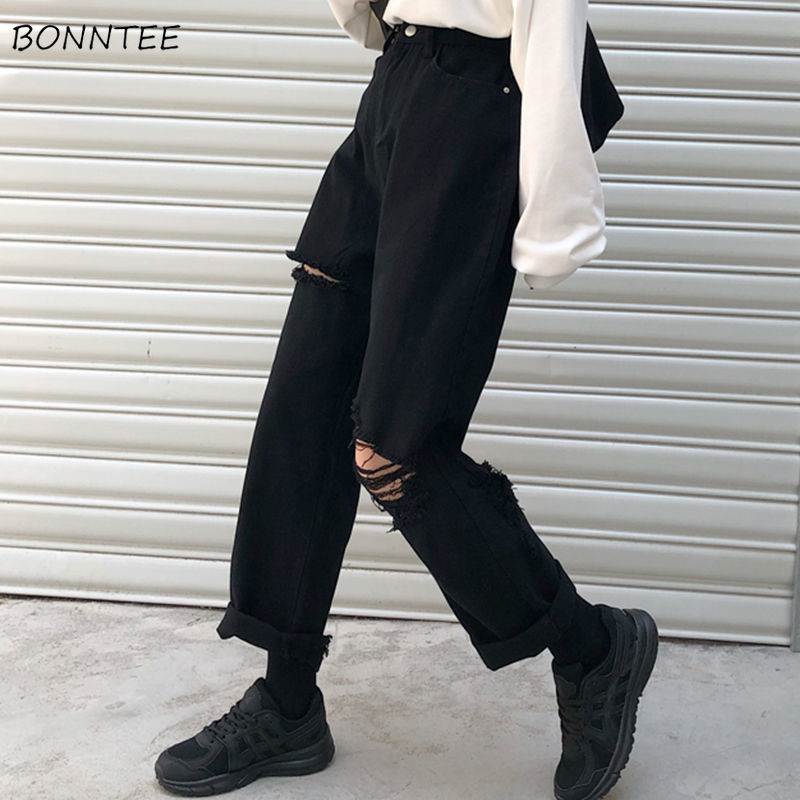 Jeans Women Denim Hole Zipper Button Pockets Loose Straight Casual Trousers Korean Trendy Retro Harajuku Daily Womens Streetwear