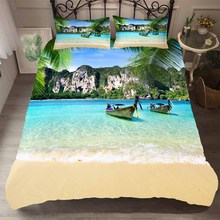 Set of Bed Linen Bedding Cover Bedroom Clohtes 3D Beach Sea and Mountain Pattern King Single Size Duvet Cover with Pillowcases