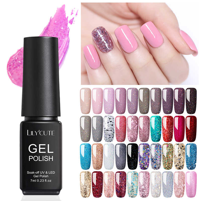 Lilycute 7 Ml Glitter Gel Warna Cat Kuku Uv Gel Semi Permanen Rendam Off Gel Nail Art Pernis Desain LED
