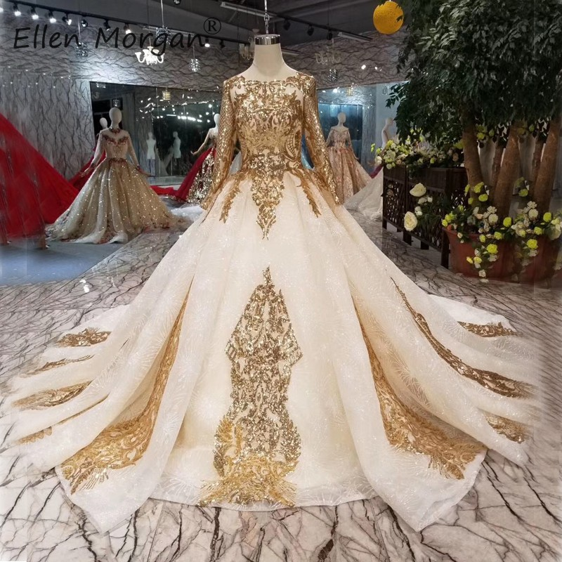 Arabic Glitter Gold Wedding Dresses Lace Bridal Ball Gowns Long Sleeves Boat Neck Lace Up Vestido De Novia For African 2019