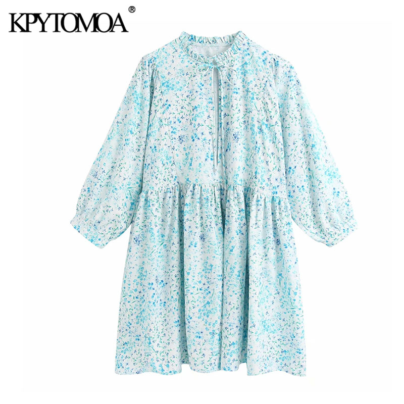 KPYTOMOA Women 2020 Chic Fashion Print Pleated Loose Mini Dress Vintage Tied Ruffles Neck Long Sleeve Female Dresses Vestidos
