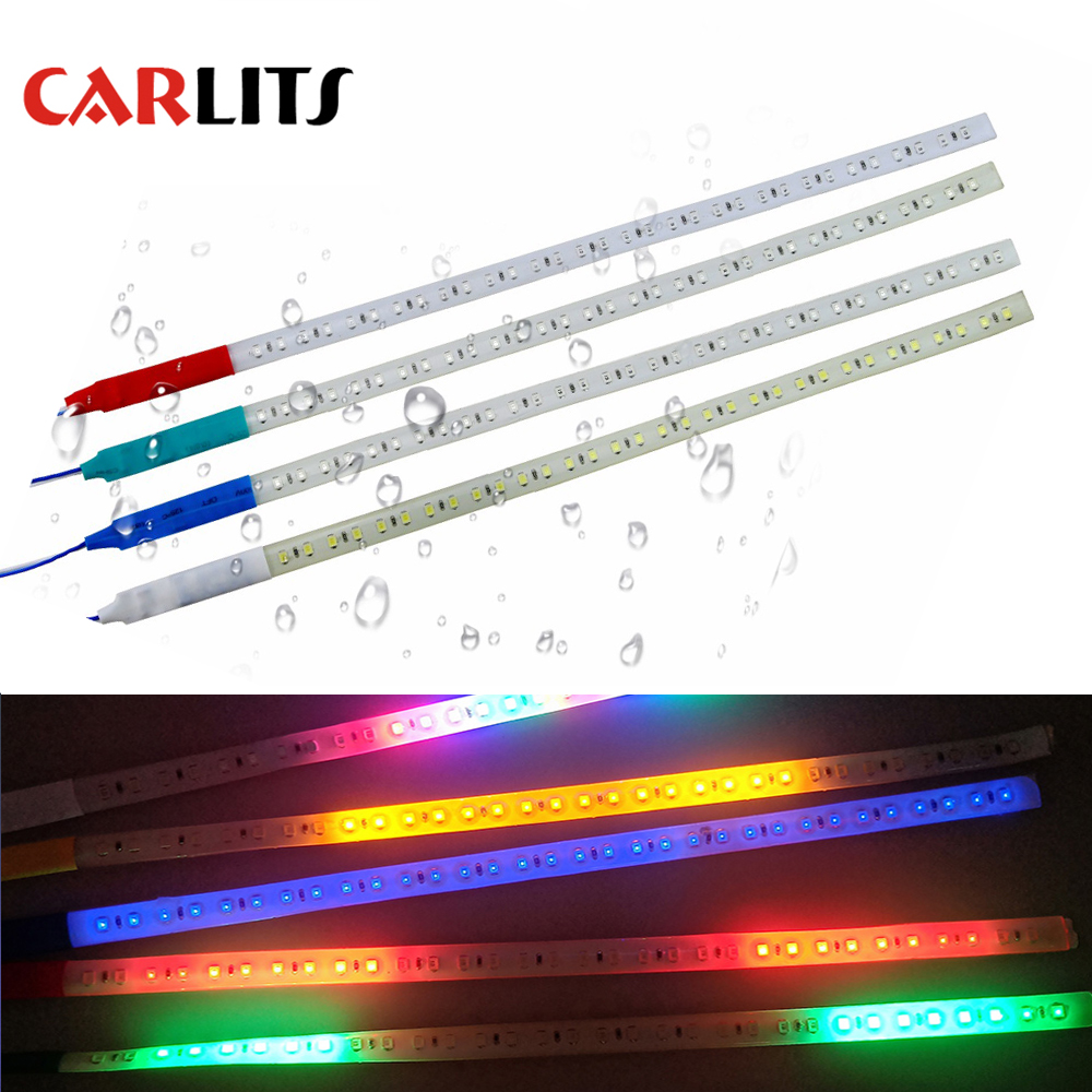 CARLITS COB 2PCS  30cm 60cm LED DRL Car Strobe Flash Decoration Strip 100% Waterproof LED Flexible Strips Knight Rider Light  CJ