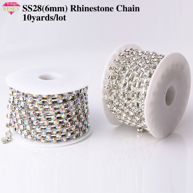 RESEN SS28 6mm 10yards/lot Crystal AB Rhinestone Chain Trim 28ss Glass Strass Trimming Yard Rhinestone Cup Chain Sliver MetalRhinestones   -