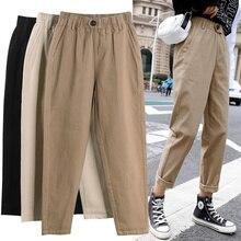 Женские прямые повседневные брюки модные комбинезоны корейские штаны-шаровары с высокой талией свободные штаны с эластичной талией размера плюс женские брюки штаны женские