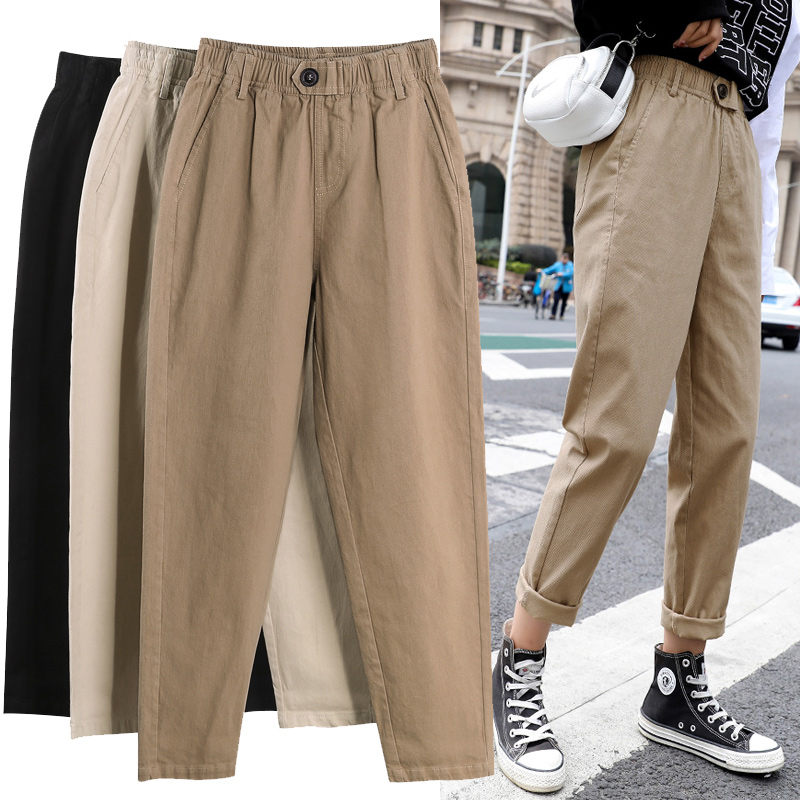 Womens Straight Casual Pants Fashion Overalls Korean High Waist Harem Pants Loose Elastic Waist Plus Size Pants Women Trousers