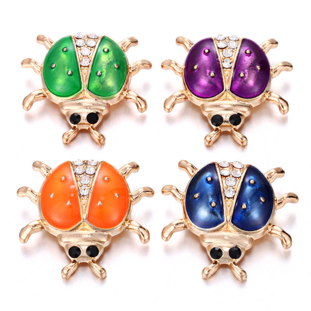 6 Pcs/lot Baru Snap Tombol 18 Mm Snap Tombol Kristal Rhinestone Ladybug Owl Bunga Terkunci Cocok Kulit Perak Snap gelang
