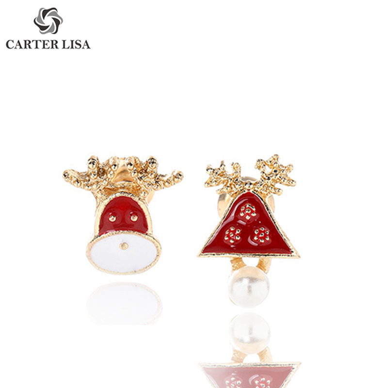 CARTER LISA Cute Red Santa Bell Antlers Stud Earings For Women Girl Fashion Jewelry Party Festival Christmas Gifts Brincos