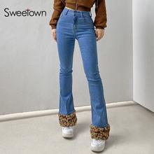 Sweetown Patchwork leopardo pantalones vaqueros con corte de bota mujeres Vintage Y2K estética 90s Streetwear, pantalones de Denim de cintura baja pantalones pitillo de llamas