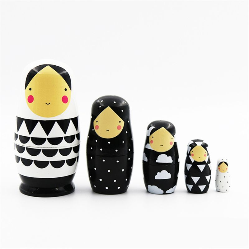 5pcs Set Handmade Painted Russian Nesting Dolls Wooden Matryoshka Doll Stacking Dolls Collectible Craft Toy