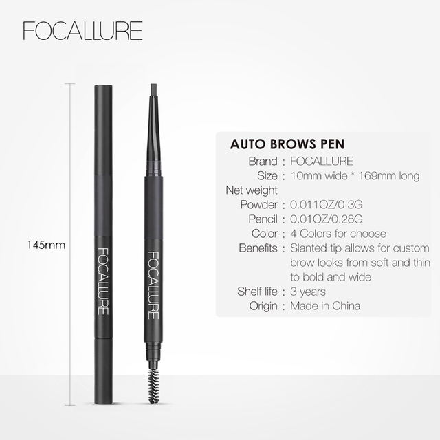 FOCALLURE Eyebrow Pencil 3 in 1 Auto Waterproof Eye Makeup Brow Shades Brush Powder Tint No Tone Long Lasting Eyebrow Pencil 5