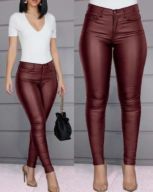 Spring Women Pu Leather Pants Black Sexy Stretch Bodycon Trousers Women High Waist Long Casual pencil pants top S-3XL plus size 2