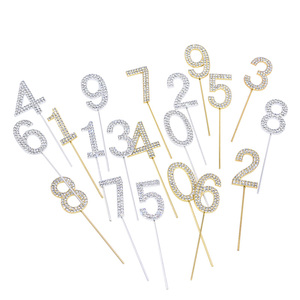 Image 5 - 1pc Number Cake Topper Diamond studded Shining Cupcake Toppers Wedding Birthday Cake Deco Baby Shower Anniversary Party Ornament