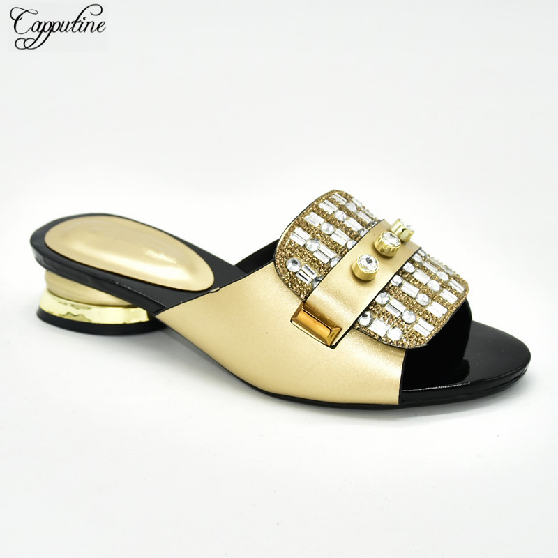 Wholesale price gold African medium heel slipper shoes nice with stone for party 88-6,heel height 4cm
