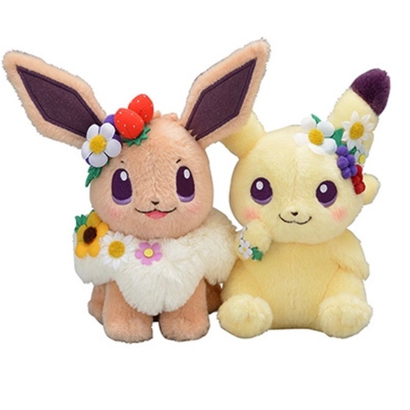 20CM Original Authentic Japan Anime Game Eievui's Pikachu&Easter Eevee With Flower Plush Doll Stuffed Toy Limited Plush Doll Toy