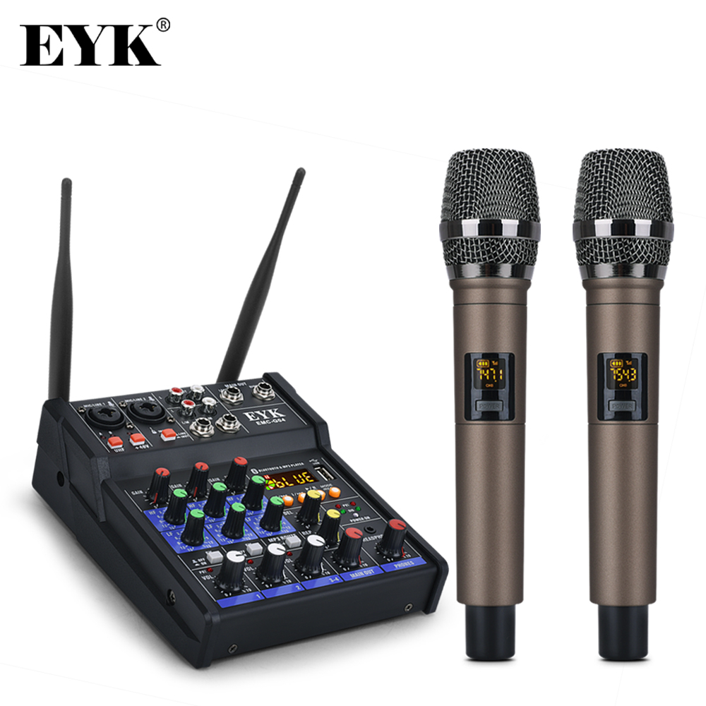 EYK EMC-G04 Audio Mixing with UHF Wireless Microphone 4 Channel Stereo Mixer Console Bluetooth USB for DJ Karaoke PC Record 1