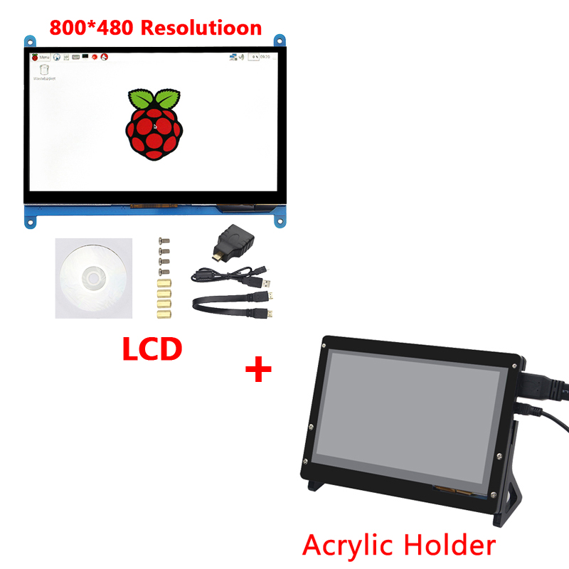 7 インチラズベリーパイ 3 タッチスクリーン 1024*600/800*480 ラズベリーパイ 4 LCD ディスプレイの Hdmi TFT モニターラズベリーパイ 3 モデル B 3B +  グループ上の パソコン & オフィス からの デモボードアクセサリー の中 3