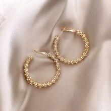 Moda exagerada metal tejido pendientes grandes de círculo pendientes personalizados adecuado para mujeres europeas y americanas