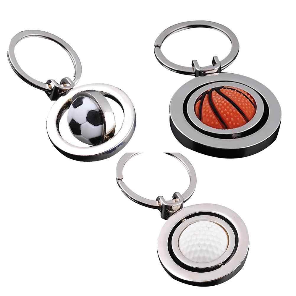 BLUELANS Moda 3D Girando Basquete Futebol Keychain Alloy Chaveiro Para Os Homens Menino Fob Presentes