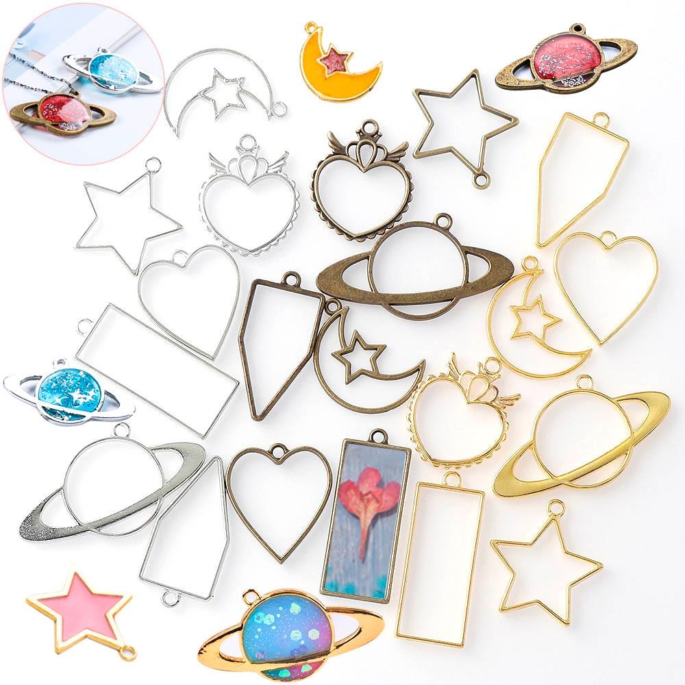 Planet Pentagram Moon Metal Frame DIY Epoxy Resin Crafts UV Resin Jewelry Making Pendant Holder Hollow